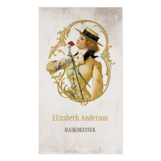 Hairdresser Vintage Gold Woman of Fashion Pack Of Standard Business Cards