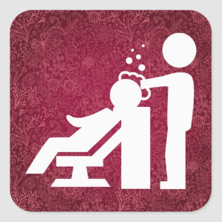 Hairdresser Works Pictogram Square Sticker