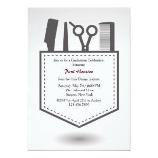 Hairdresser's Pocket Graduation Invitation