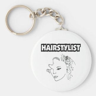 HAIRSTYLIST BASIC ROUND BUTTON KEY RING