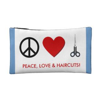 HairStylist Cosmetic Bag - Peace, Love & Haircuts