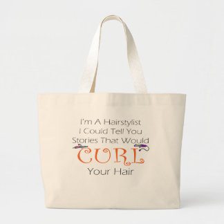 Hairstylist Curl Hair Tote Bags