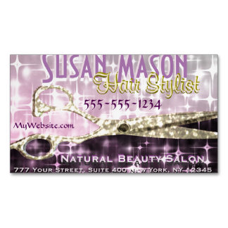 Hairstylist | Gold Scissors Sparkle Glam Magnetic Business Card