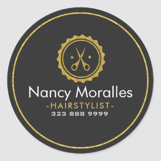 HairStylist Logo-Gold Scissors & Circle Classic Round Sticker