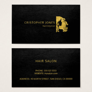 Hairstylist luxury simple gold black leather look business card