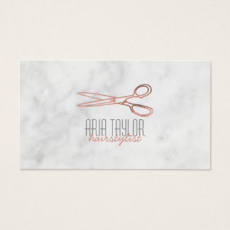 Hairstylist RoseGold Scissors Marble Business Card
