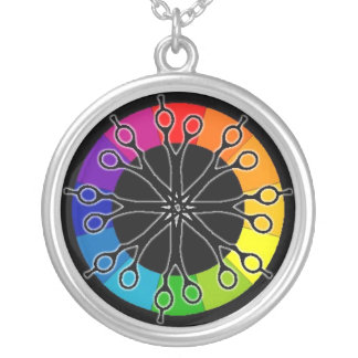Hairstylist Scissors and Color Wheel Pendant