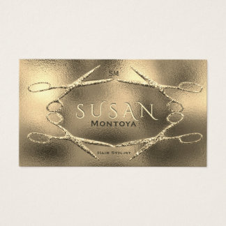 Hairstylist Scissors Glitter Glam Business Card