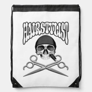 Hairstylist Skull Drawstring Backpacks