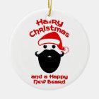 Hairy Christmas, Happy New Beard Ceramic Ornament
