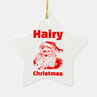 Hairy Christmas Red Santa Claus Ceramic Ornament