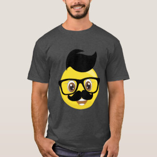 Hairy Emoji With Mustache and Eye Glasses T-Shirt