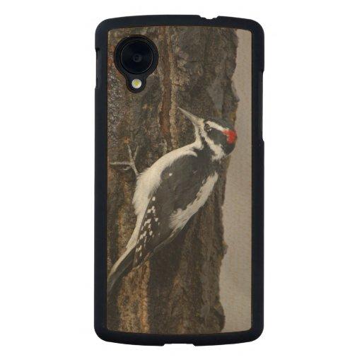 Hairy Woodpecker male on aspen tree, Grand Teton Carved® Maple Nexus 5 Case