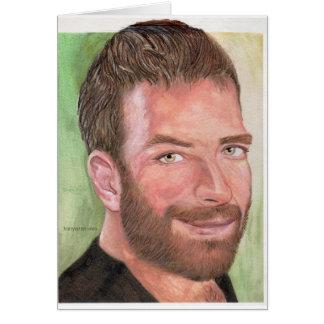 Hairyartist's self portrait mug card