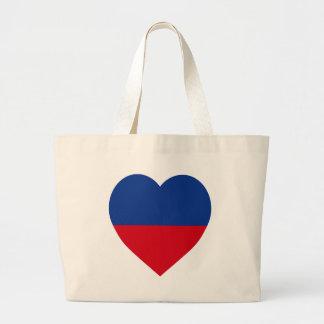 Haiti civil Flag Heart Canvas Bag