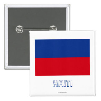 Haiti Civil Flag with Name Pinback Buttons