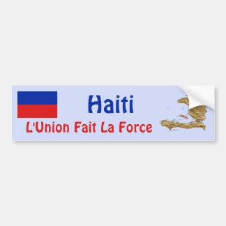 Haiti Flag and Map Bumper Sticker Car Bumper Sticker