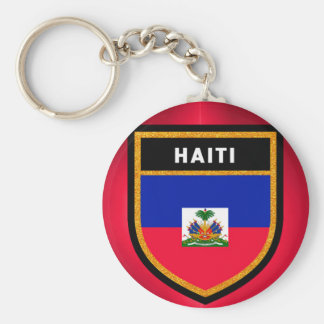 Haiti Flag Basic Round Button Key Ring