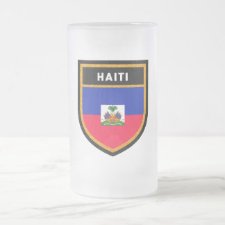 Haiti Flag Frosted Glass Beer Mug