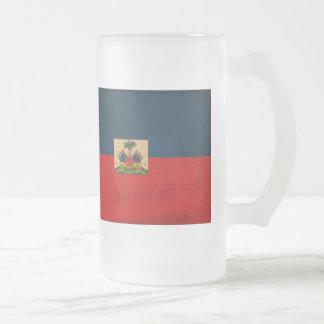 Haiti Flag Frosted Glass Mug