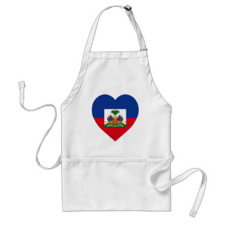 Haiti Flag Heart Adult Apron