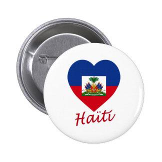 Haiti Flag Heart Pinback Button