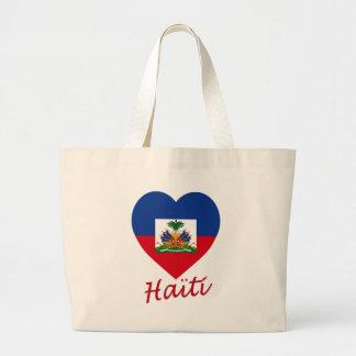 Haiti Flag Heart Tote Bag