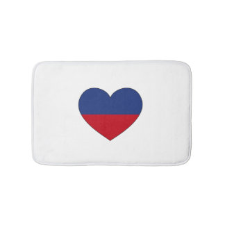 Haiti Flag Heart Bath Mats
