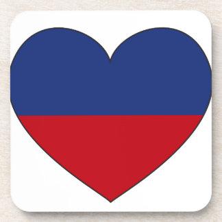 Haiti Flag Heart Coasters