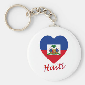 Haiti Flag Heart Keychain