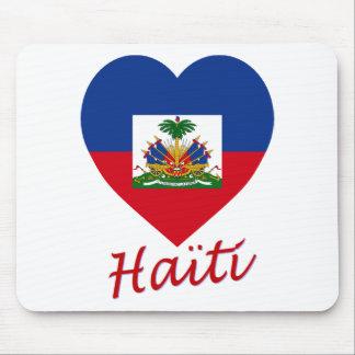 Haiti Flag Heart Mouse Pads