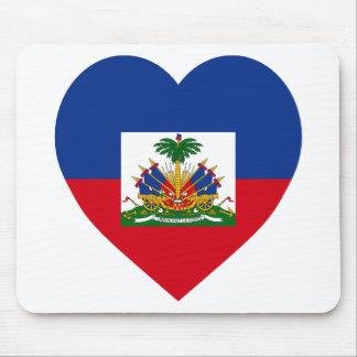 Haiti Flag Heart Mouse Pad