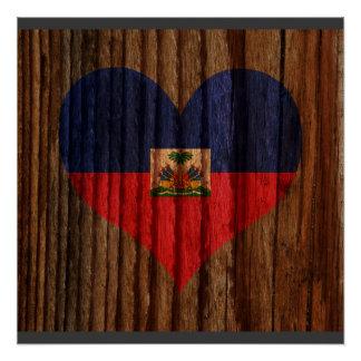 Haiti Flag Heart on Wood theme Poster