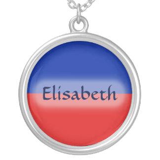 Haiti Flag + Name Necklace