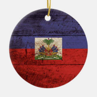 Haiti Flag on Old Wood Grain Ornament