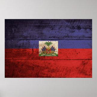 Haiti Flag on Old Wood Grain Poster
