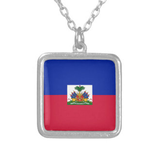 Haiti Flag Silver Plated Necklace