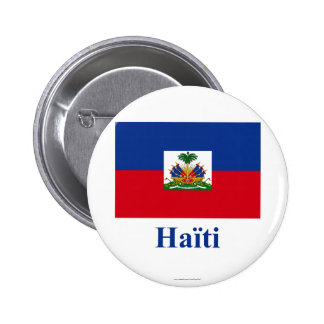 Haiti Flag with Name in French Buttons