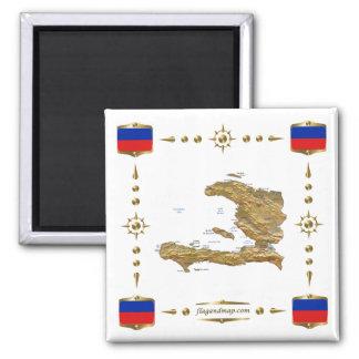 Haiti Map + Flags Magnet