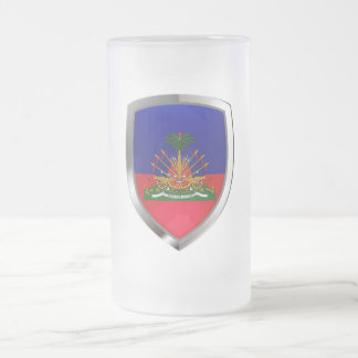 Haiti Metallic Emblem Frosted Glass Beer Mug