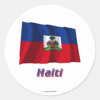 Haiti Waving Flag with Name Round Stickers
