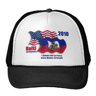 Haitian & American Waving Flags for Haiti Mesh Hat