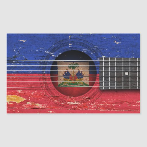 Haitian Flag on Old Acoustic Guitar Rectangle Stickers