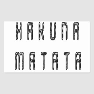 Hakuna Matata Beautiful Zebra Print Pattern Design Rectangular Sticker