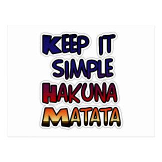 Hakuna Matata Keep it Simple Gifts Postcard