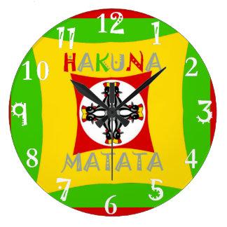 Hakuna Matata Rasta Color Red Golden Green Clocks