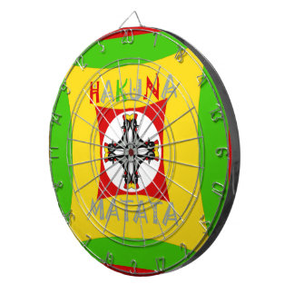 Hakuna Matata Rasta Color Red Golden Green Dartboard With Darts