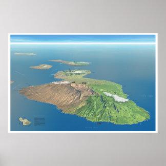 Haleakala and Maui map poster
