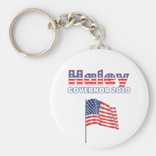 Haley Patriotic American Flag 2010 Elections Keychain