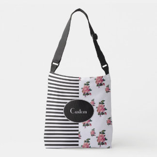 Half and Half Stripe and Rose Floral Crossbody Bag